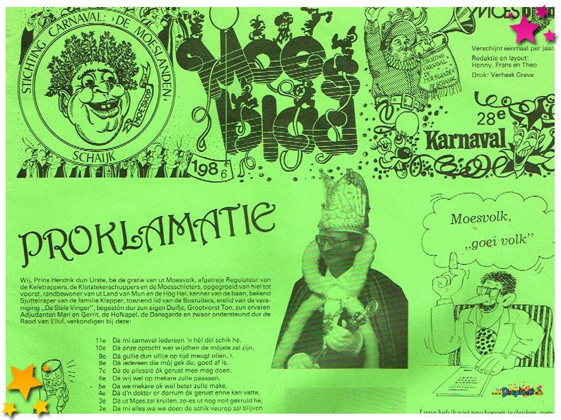 Carnavalskranten Schaijk - 1986