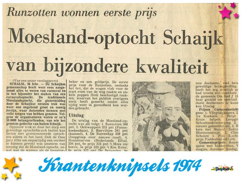 Krantenknipsels Moesland 1974