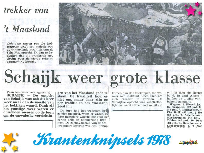 Krantenknipsels Moesland 1978