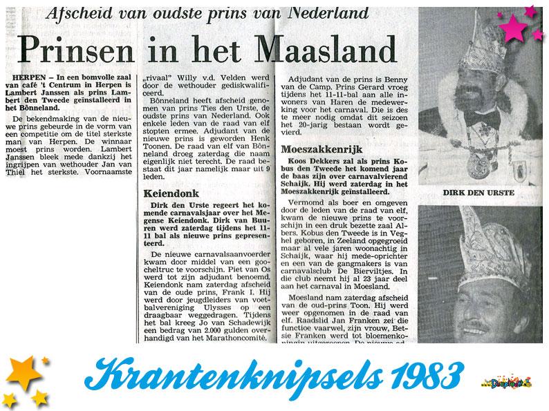 Krantenknipsels Moesland 1983