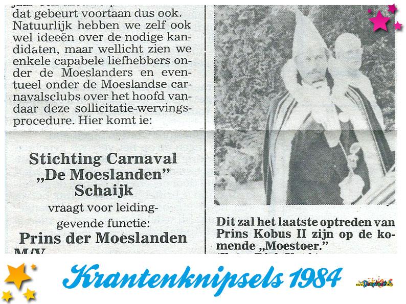 Krantenknipsels Moesland 1984