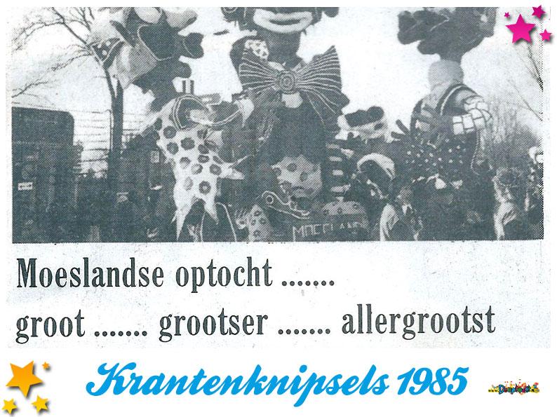 Krantenknipsels Moesland 1985