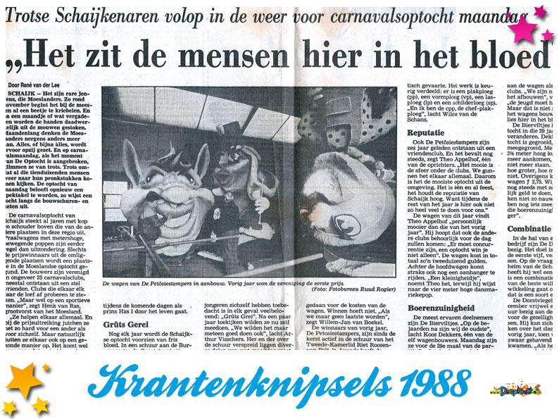Krantenknipsels Moesland 1988