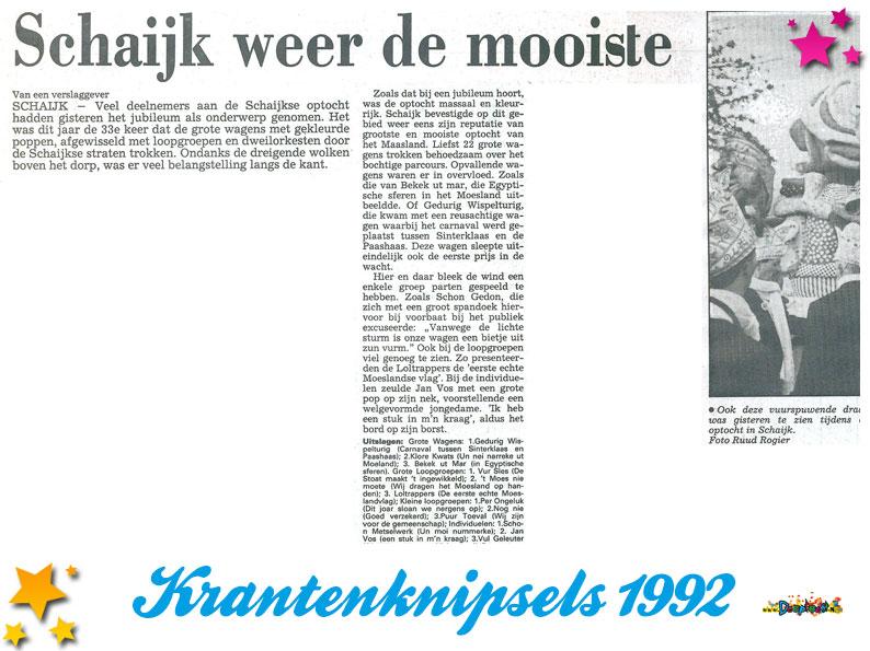 Krantenknipsels Moesland 1992