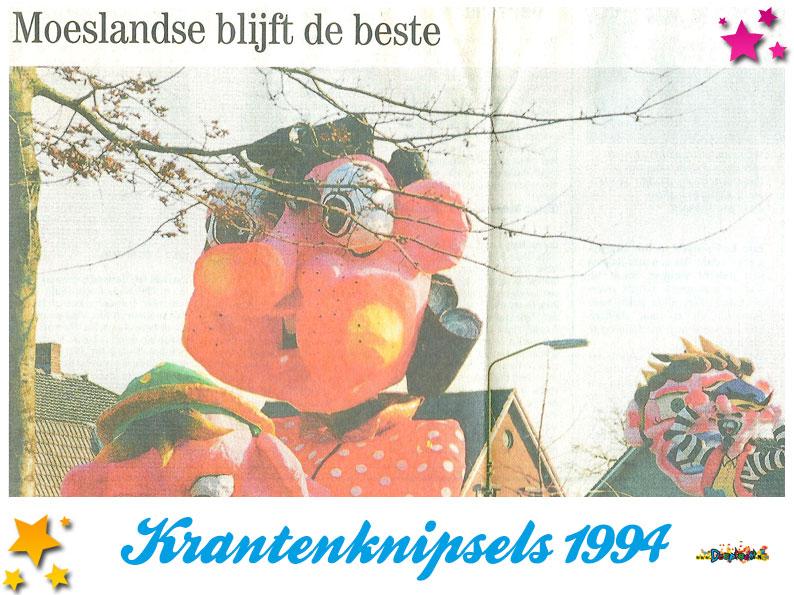 Krantenknipsels Moesland 1994