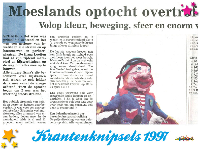 Krantenknipsels Moesland 1997