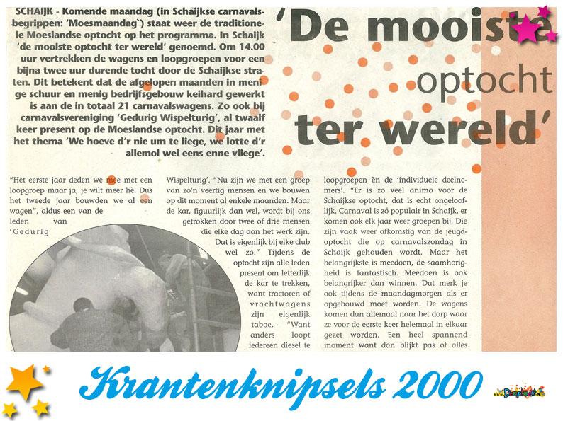 Krantenknipsels Moesland 2000