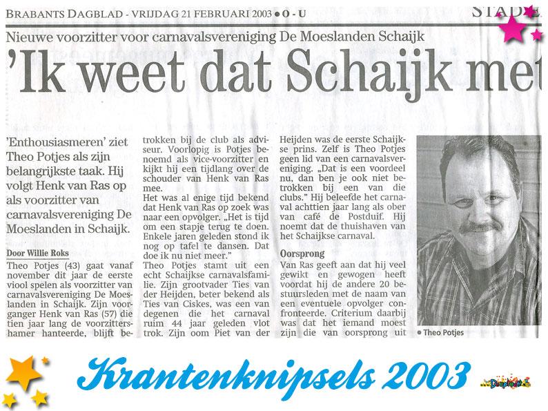 Krantenknipsels Moesland 2003