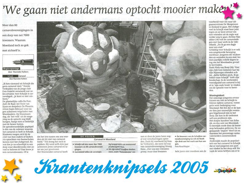 Krantenknipsels Moesland 2005