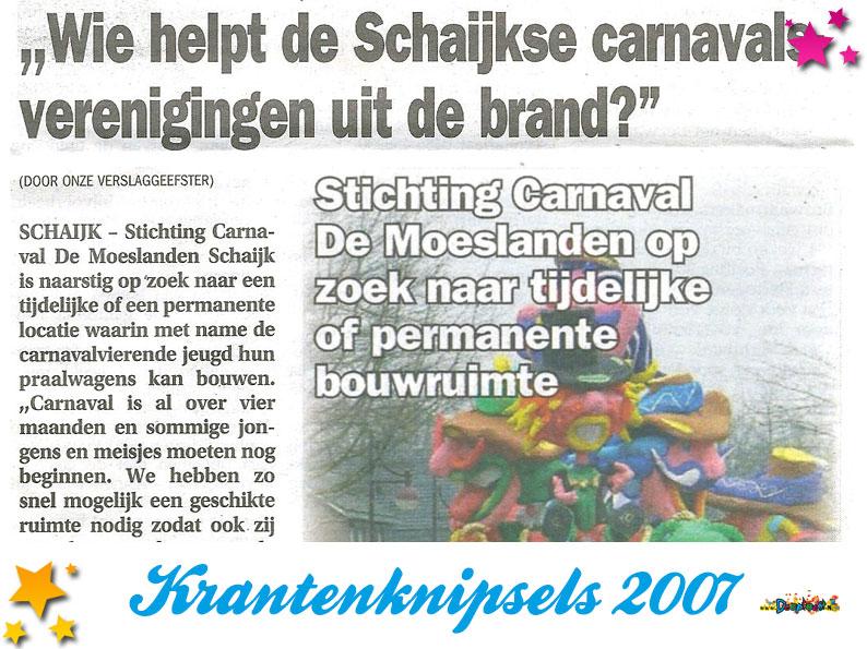 Krantenknipsels Moesland 2007
