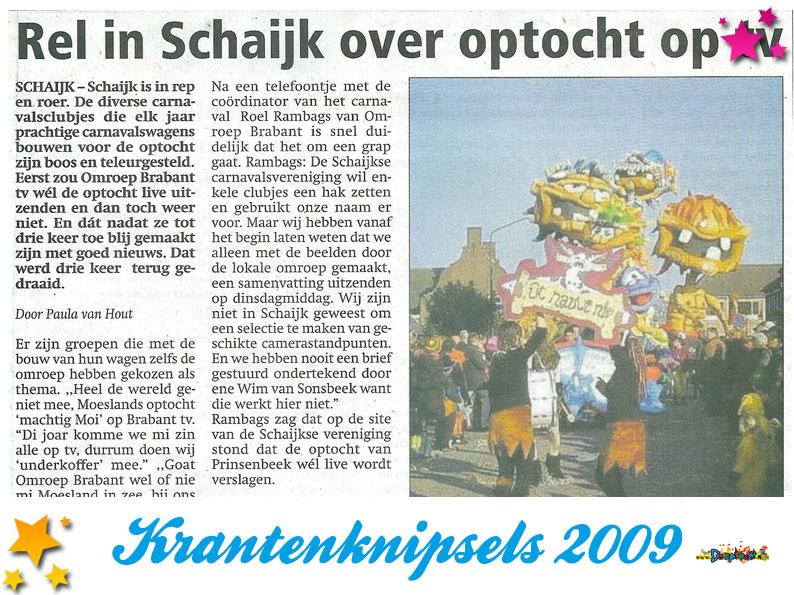 Krantenknipsels Moesland 2009