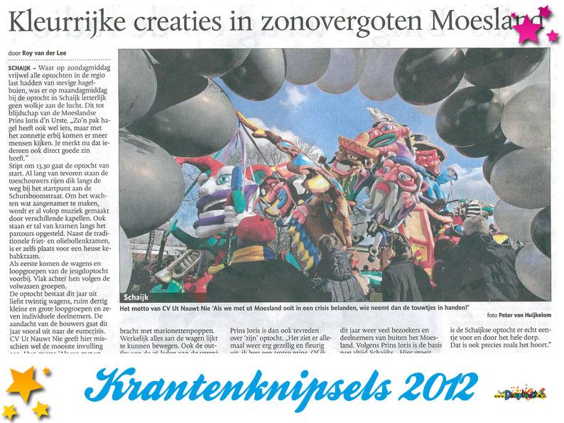 Krantenknipsels Moesland 2012
