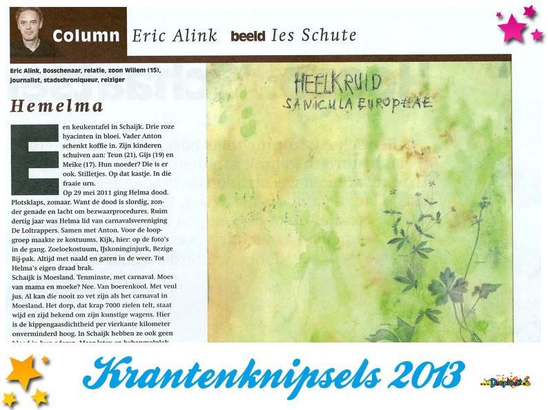 Krantenknipsels Moesland 2013