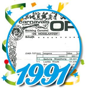 Uitslag optocht 1991 Schaijk