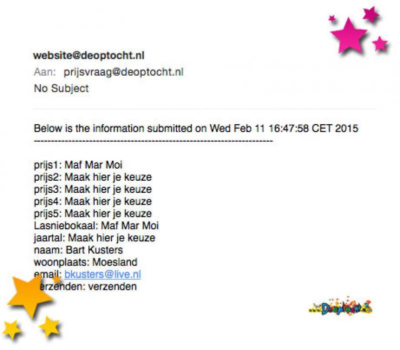 Opmerkelijke e-mail Bart Kusters