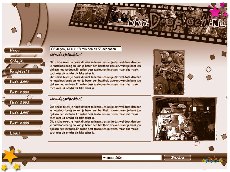 Nieuwe layout www.deoptocht.nl in 2007