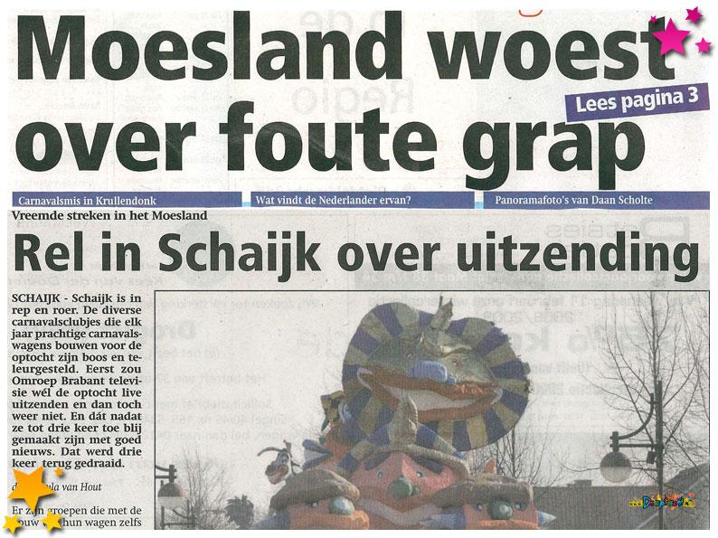 Teleurstelling in Schaijk na grap carnavalsstichting - 2009