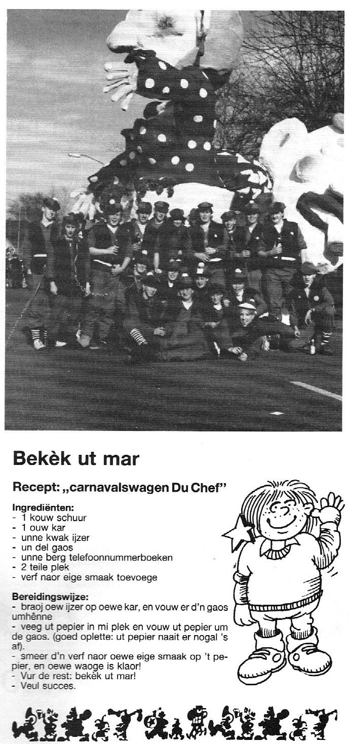 Stukje van Bekek Ut Mar uit de carnavalskrant van 1989