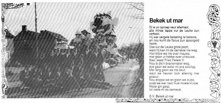 Stukje van Bekek Ut Mar uit de carnavalskrant van 1994