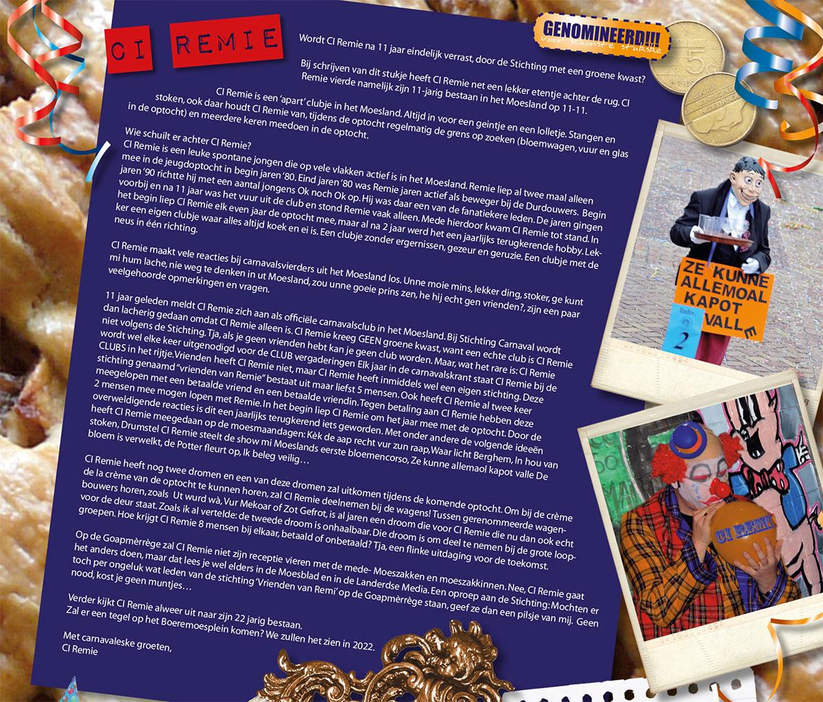 Stukje van C.I. Remie uit de carnavalskrant van 2011