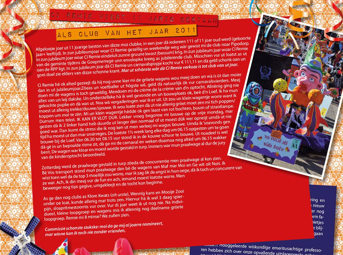 Stukje van C.I. Remie uit de carnavalskrant van 2012