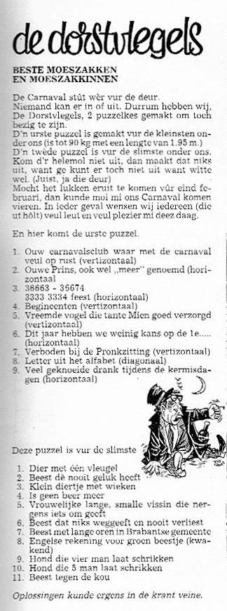 Stukje uit de carnavalskrant van 1990