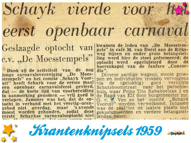 Krantenknipsels Moesland 1959