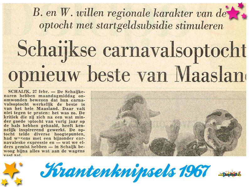 Krantenknipsels Moesland 1967