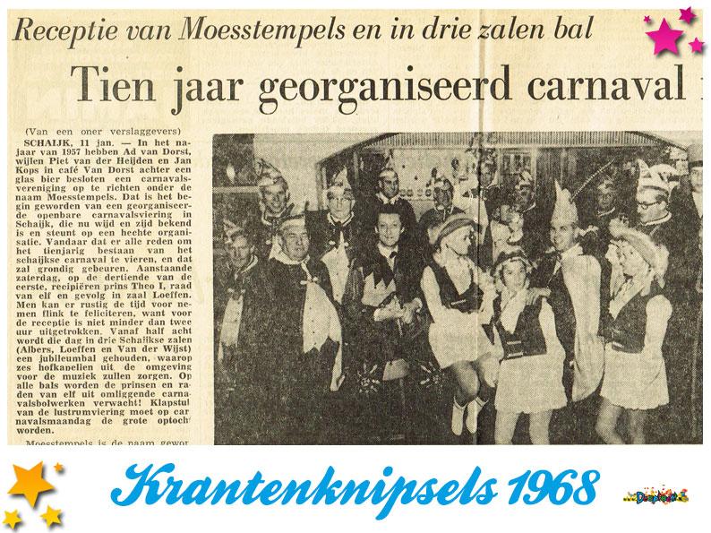 Krantenknipsels Moesland 1968