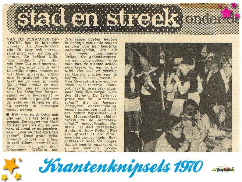 Krantenknipsels Moesland 1970