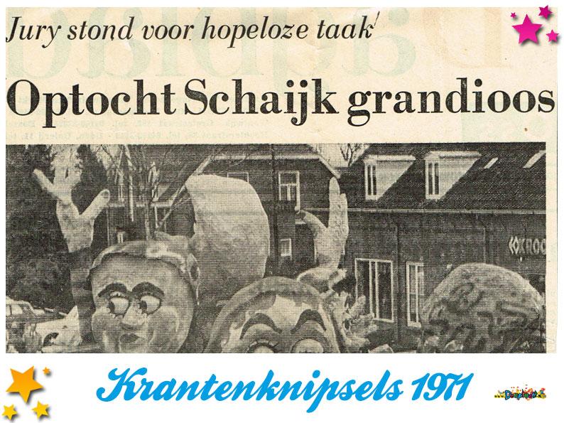 Krantenknipsels Moesland 1971