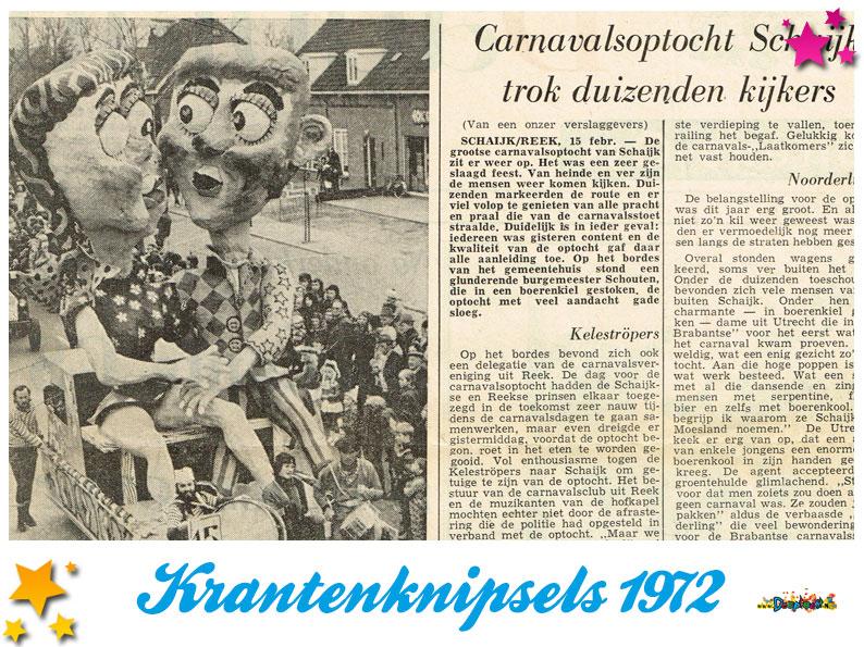 Krantenknipsels Moesland 1972