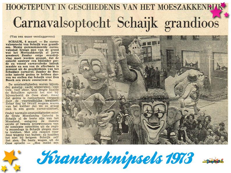 Krantenknipsels Moesland 1973
