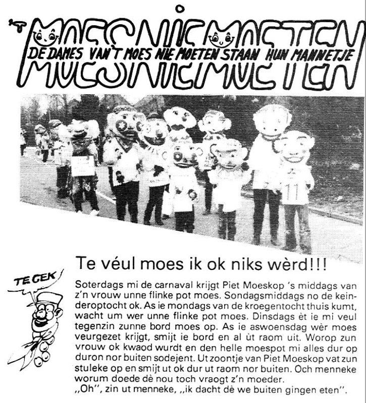 Carnavalskrant 't Moes Nie Moete - 1985