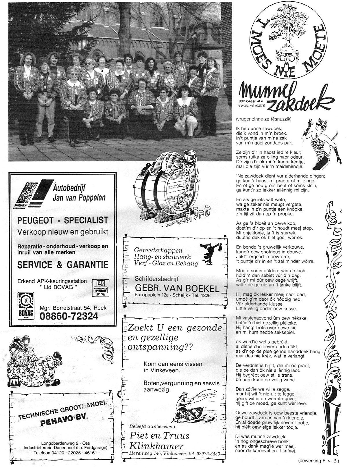 Carnavalskrant 't Moes Nie Moete - 1991