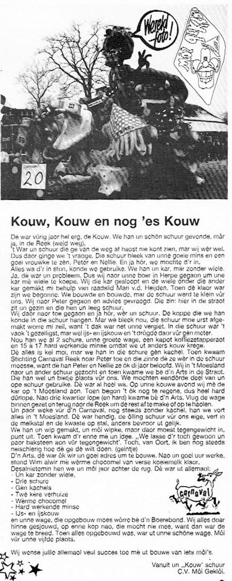 Stukje uit de carnavalskrant van Moi Gekloi - 1992