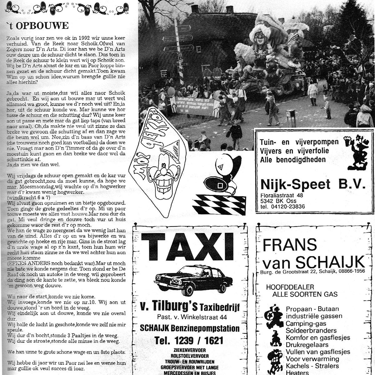 Stukje uit de carnavalskrant van Moi Gekloi - 1993