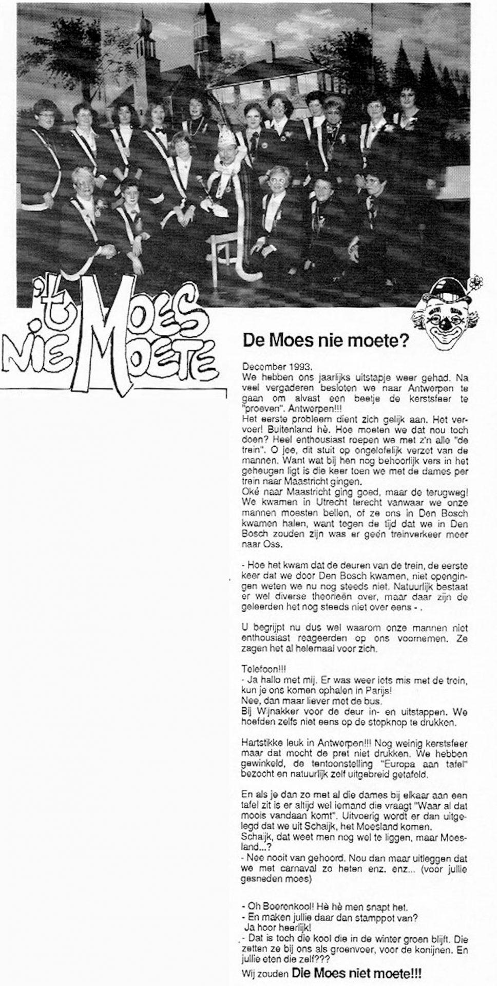 Carnavalskrant 't Moes Nie Moete - 1994