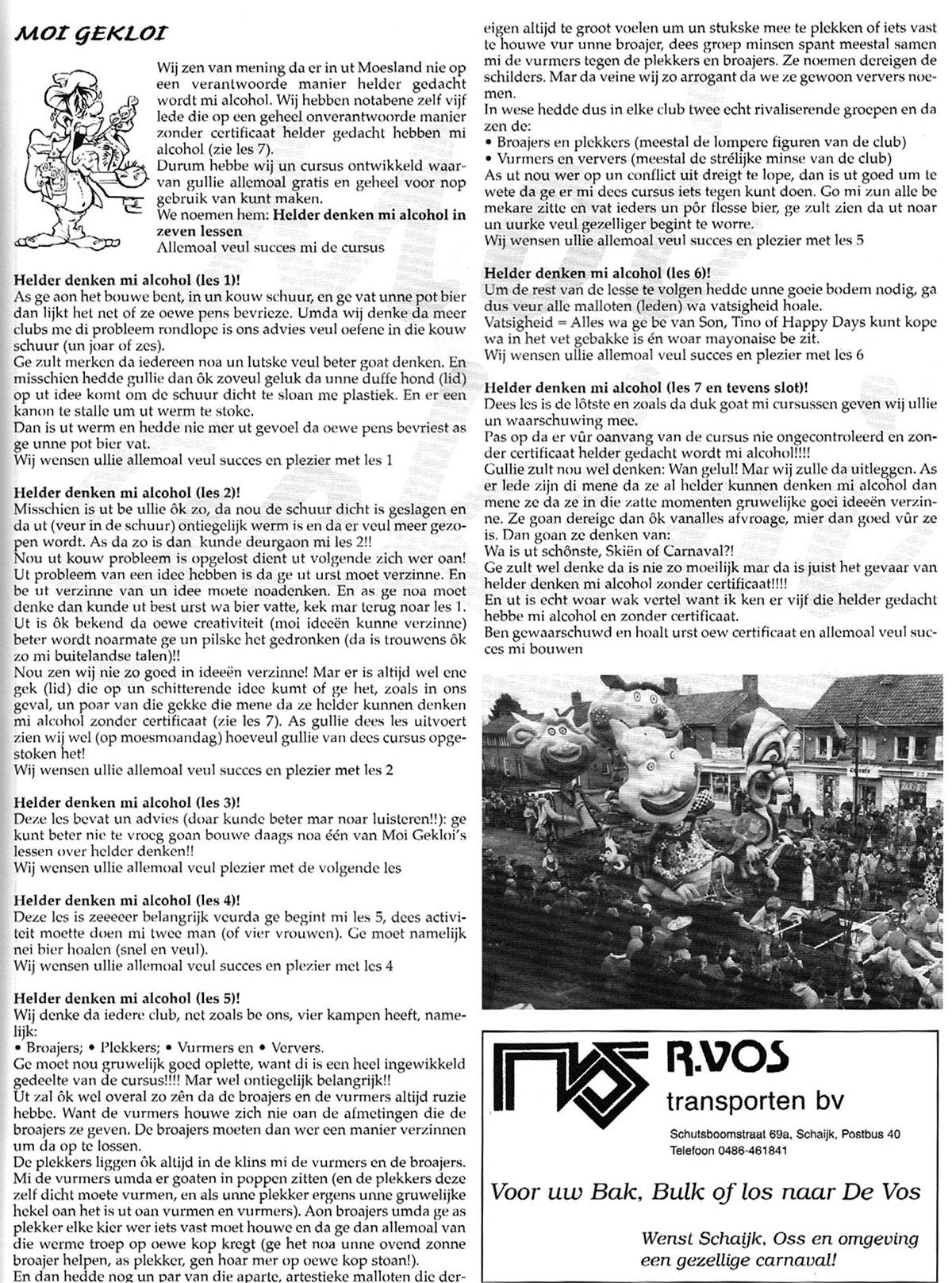 Stukje uit de carnavalskrant van Moi Gekloi - 1998