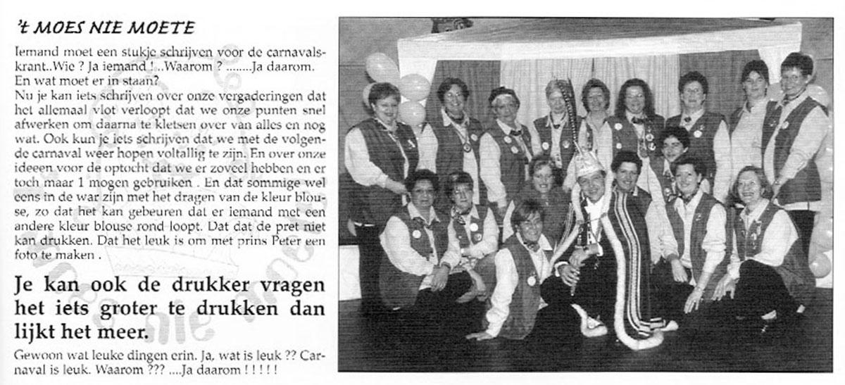 Carnavalskrant 't Moes Nie Moete - 2000