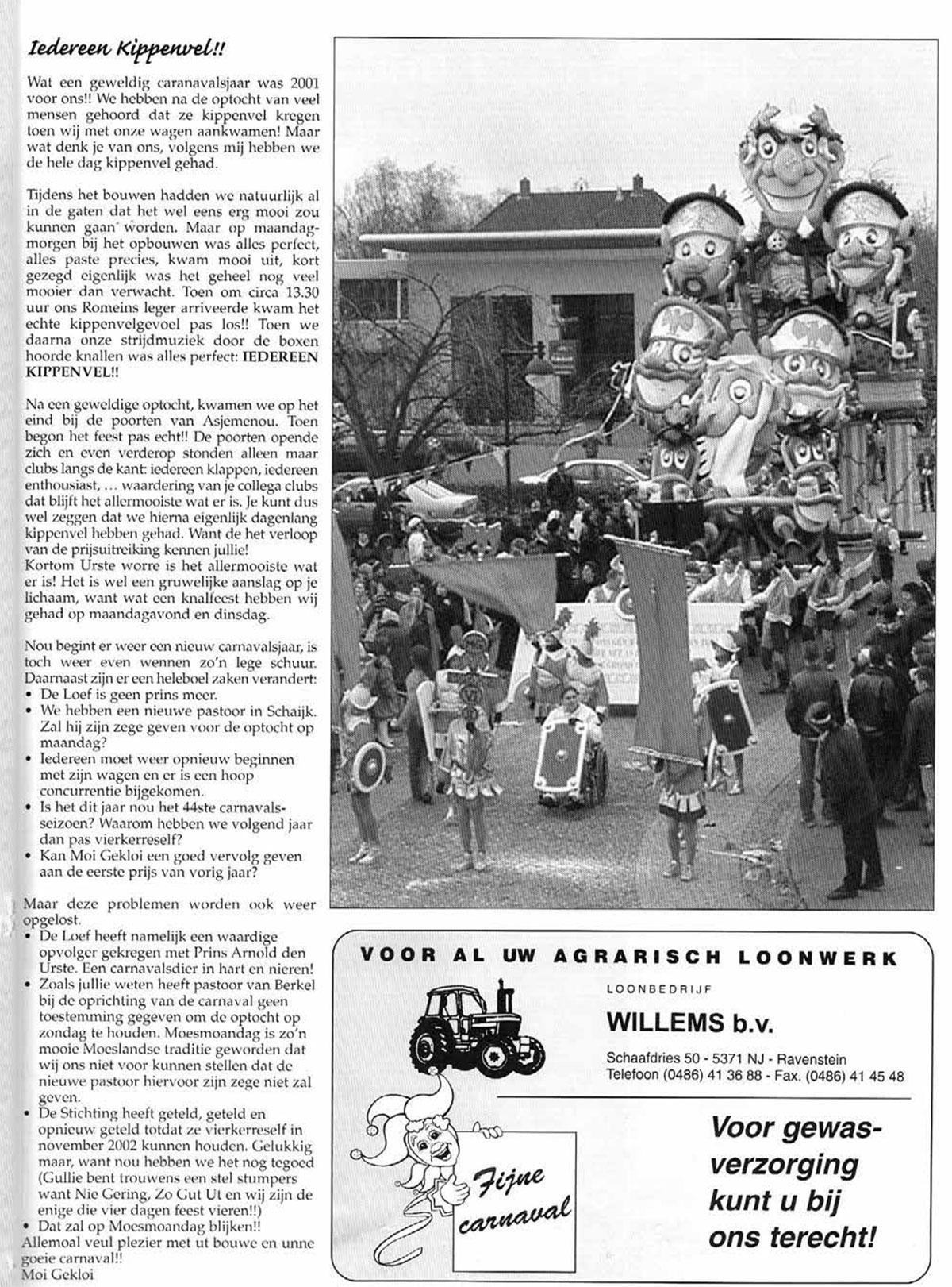 Stukje uit de carnavalskrant van Moi Gekloi - 2002