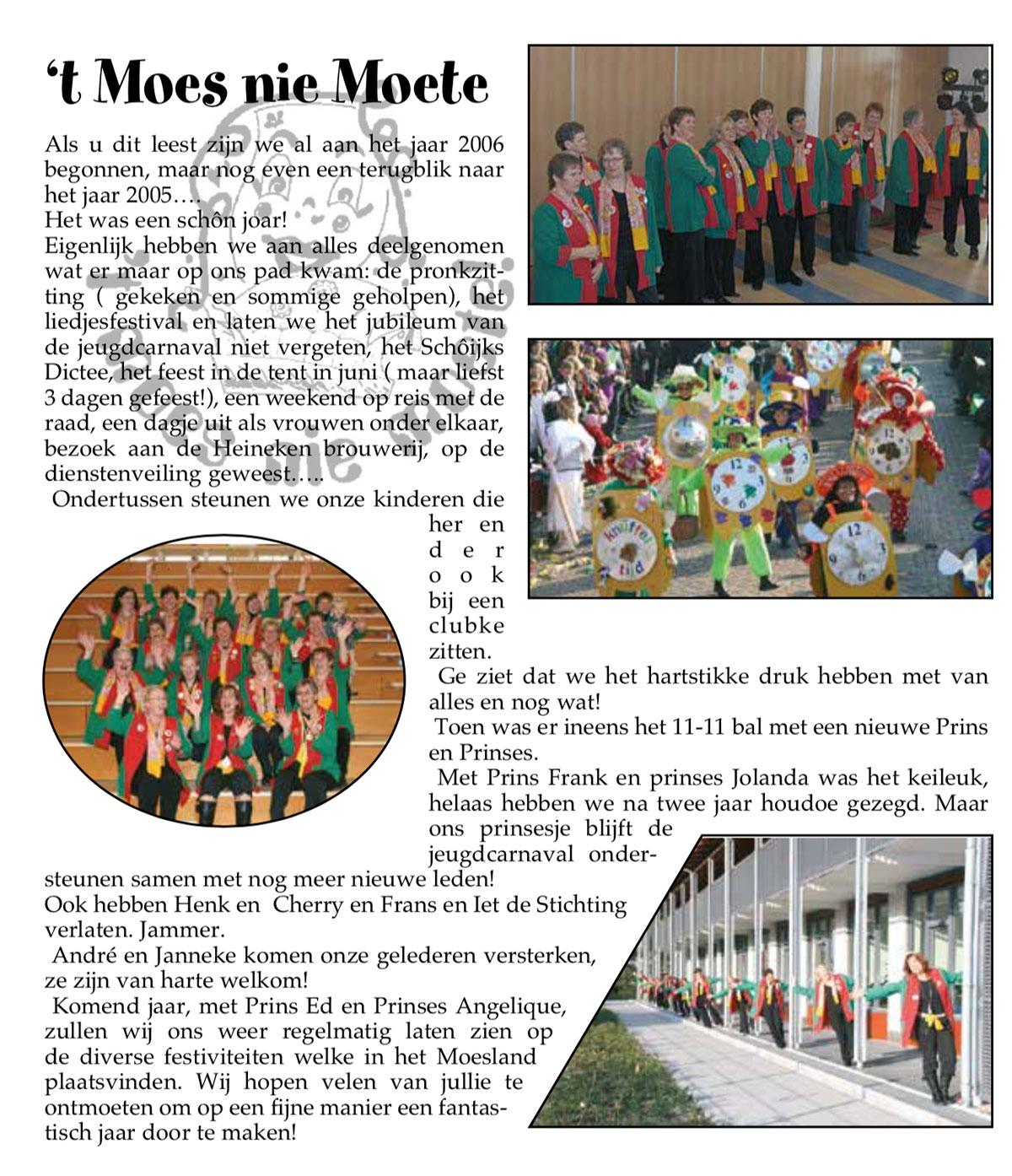 Carnavalskrant 't Moes Nie Moete - 2006