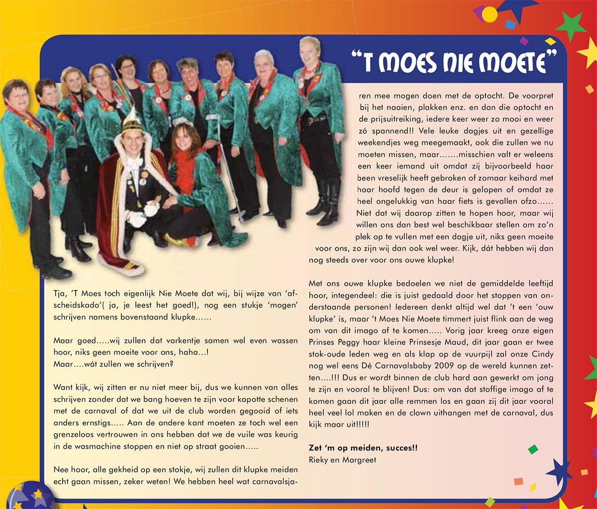 Carnavalskrant 't Moes Nie Moete - 2009
