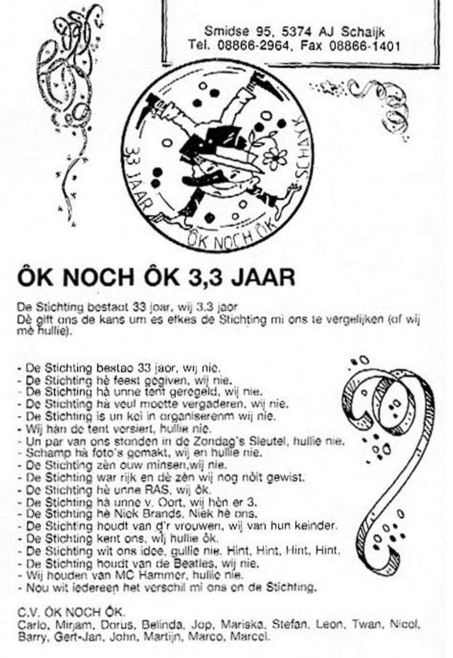 Carnavalskrant Ok Noch Ok - 1992