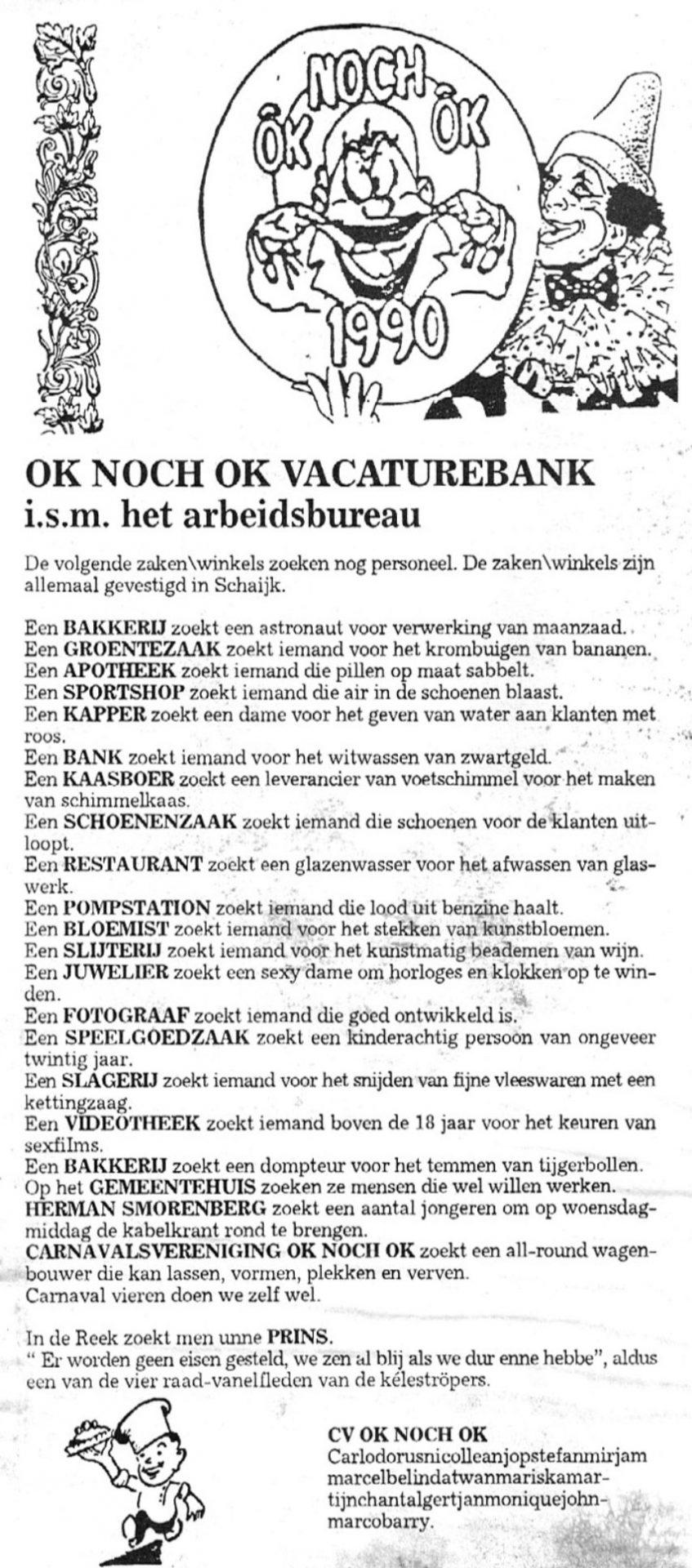 Carnavalskrant Ok Noch Ok - 1993