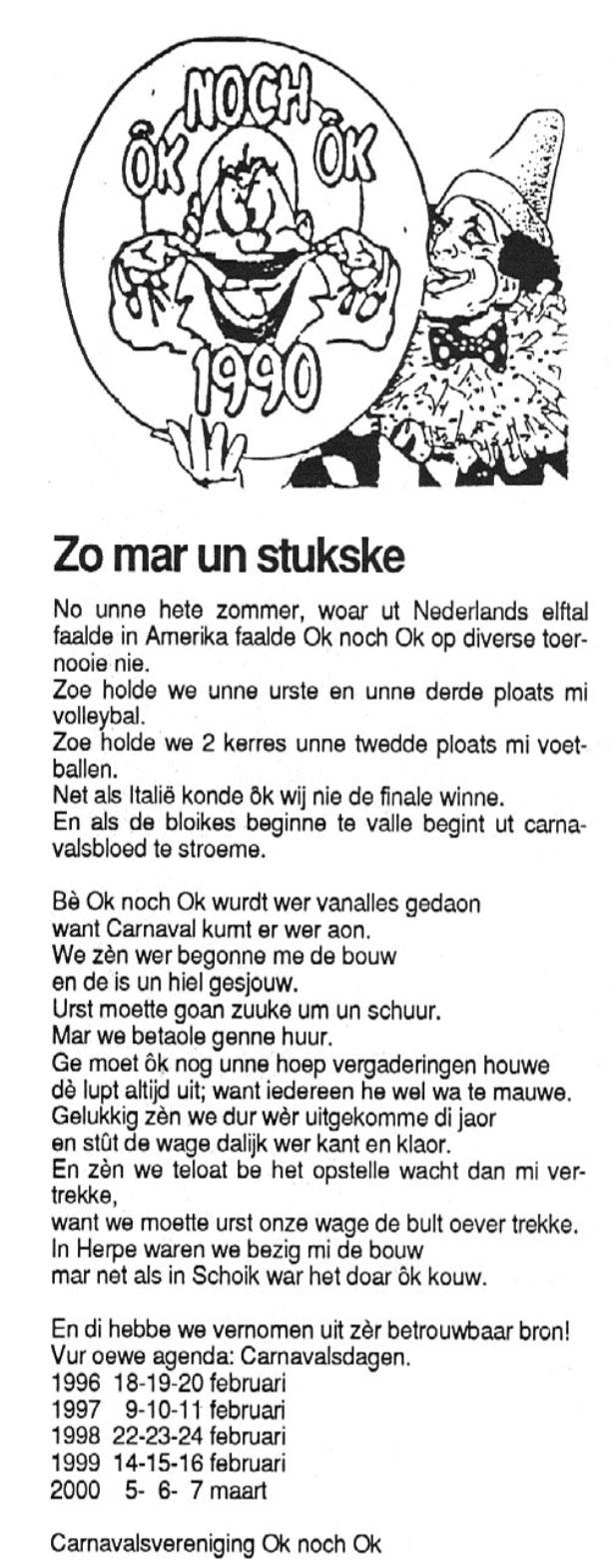 Carnavalskrant Ok Noch Ok - 1995