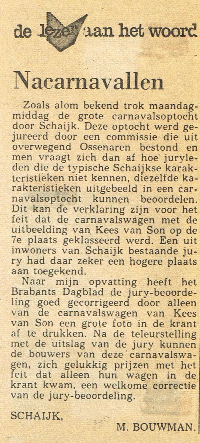 Ingezonden brief Brabants Dagblad - 1974