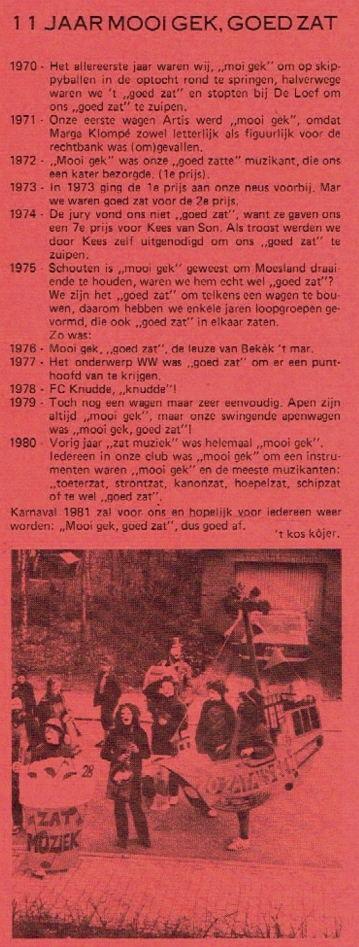 Stukje uit de carnavalskrant van 't Kos Kojer - 1981