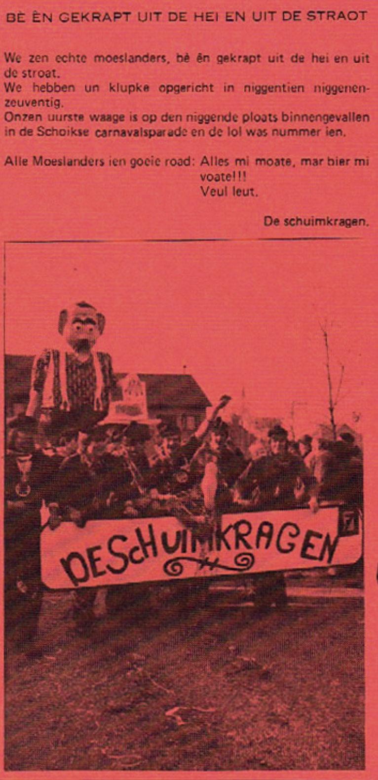 Stukje uit de carnavalskrant van de Schuimkragen - 1981