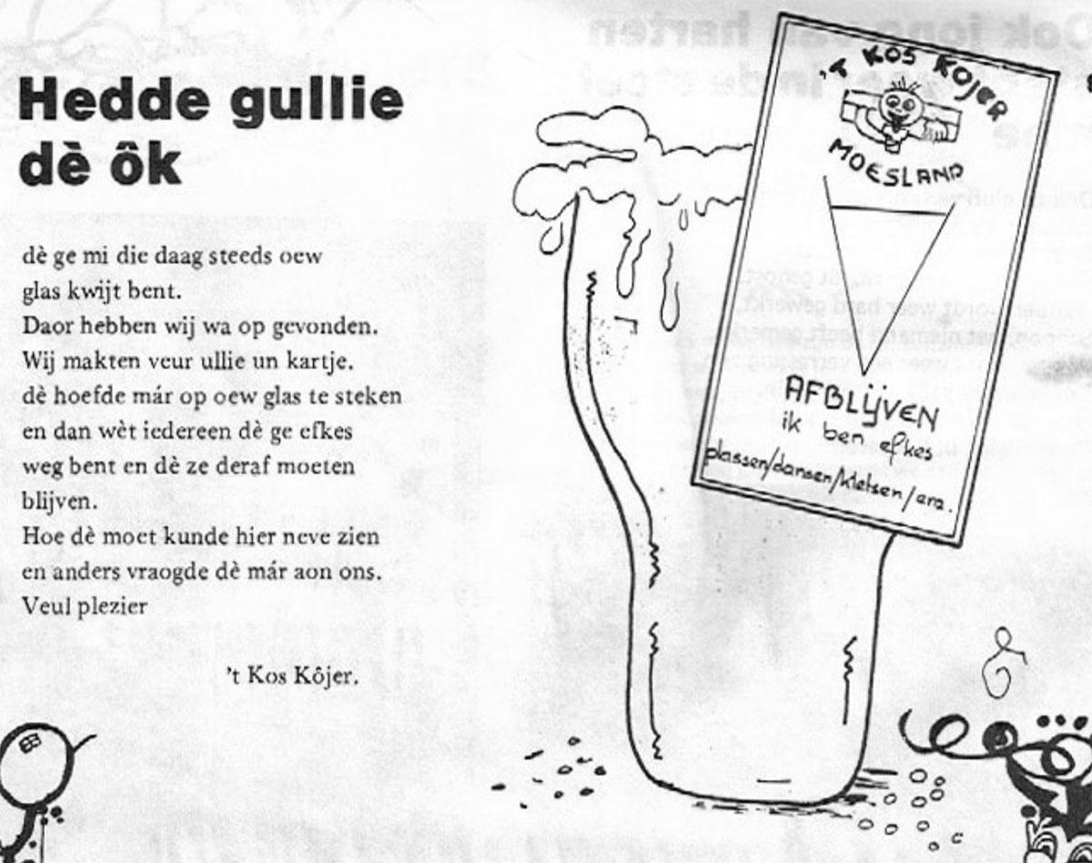Stukje uit de carnavalskrant van 't Kos Kojer - 1984
